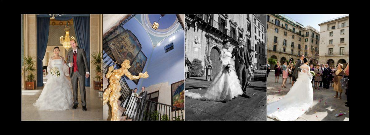 Diseño álbum boda. Salida del Ayuntamiento de Alicante.
