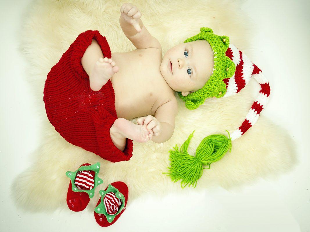 Foto retrato bebe para Navidad.