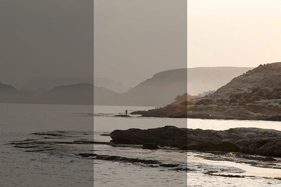 foto Braketing de una misma escena de playa.