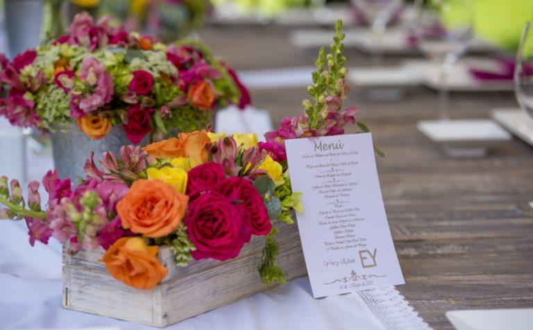 Detalle floral mesas boda